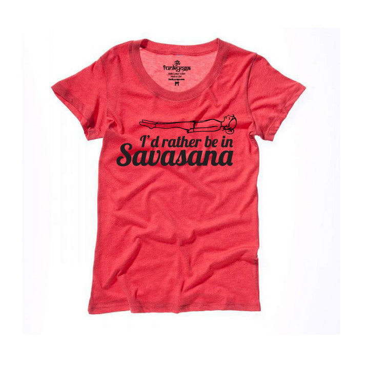 I'D RATHER BE TRIBLEND HEATHER RED WIDE NECK TEE - Funky Yoga  Gear & Accessories
