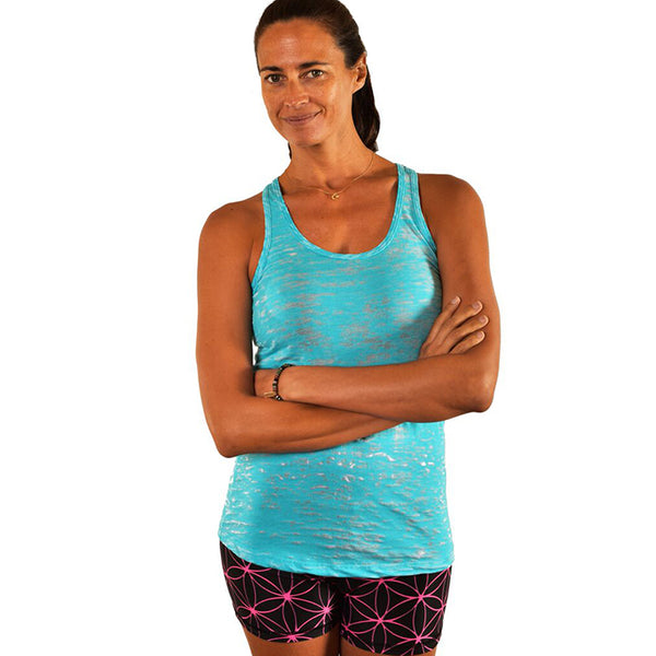 DO MORE YOGA AQUA CLASSICS BURNOUT RACER TANK
