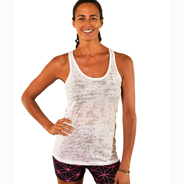 DO MORE YOGA ~ WHITE CLASSICS BURNOUT RACER TANK