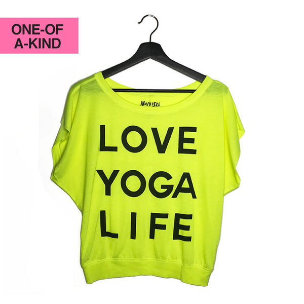 LOVE YOGA LIFE ~ NEON YELLOW FLOWY CUT-OUT SLEEVES TEE