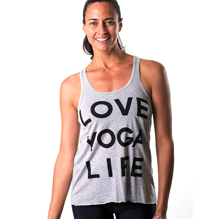 LOVE YOGA LIFE ~ CLASSIC HEATHER GREY FLOWY RACER TANK