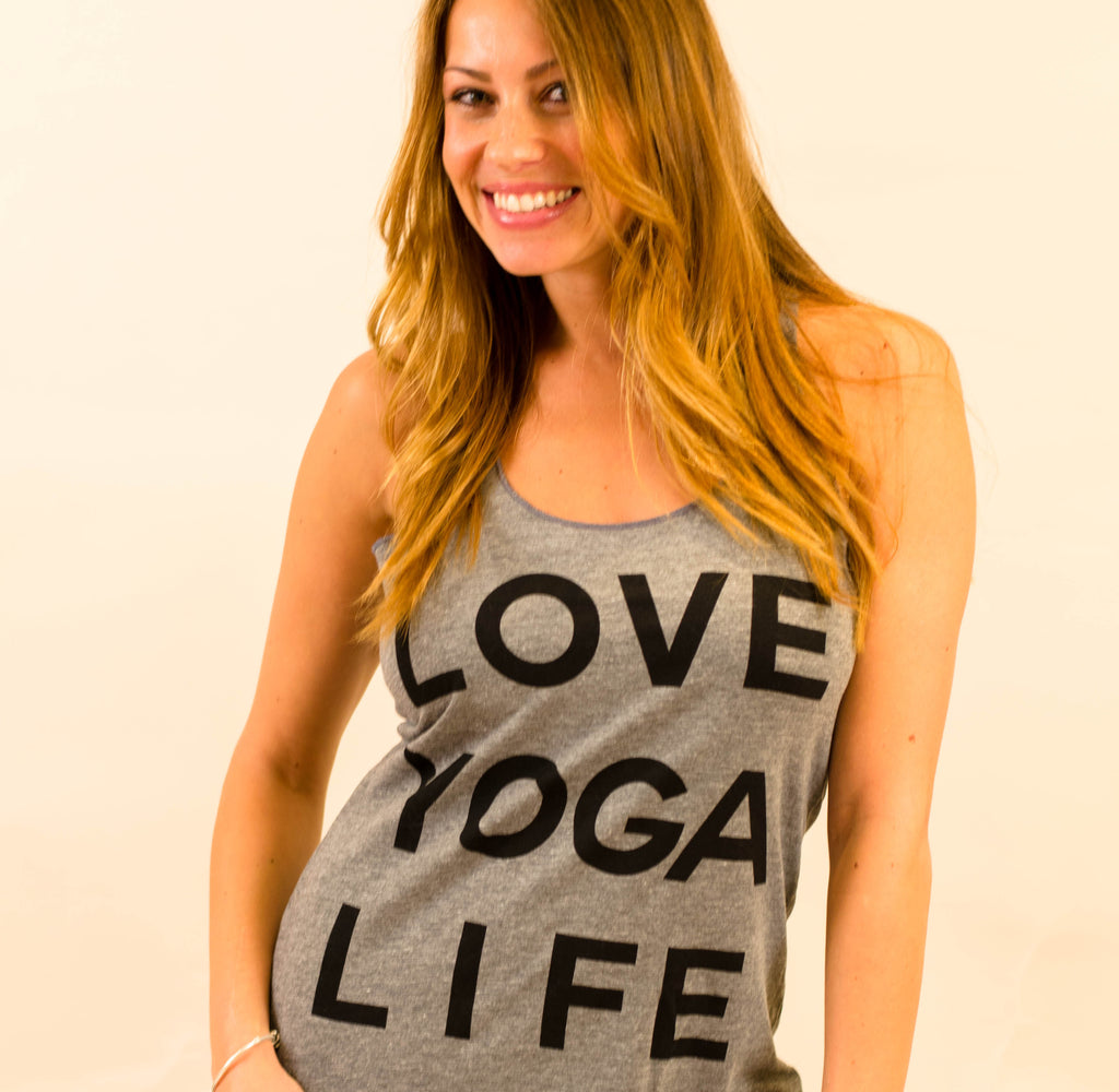 LOVE YOGA LIFE ~ HEATHER GREY TRIBLEND RACER TANK (ONLY XL)
