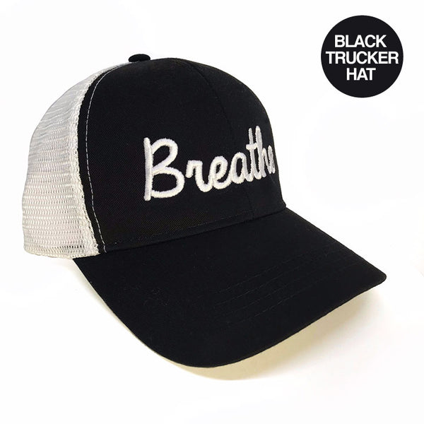 BREATHE BLACK ECO UNISEX TRUCKER MESH CAP - Funky Yoga  Gear & Accessories