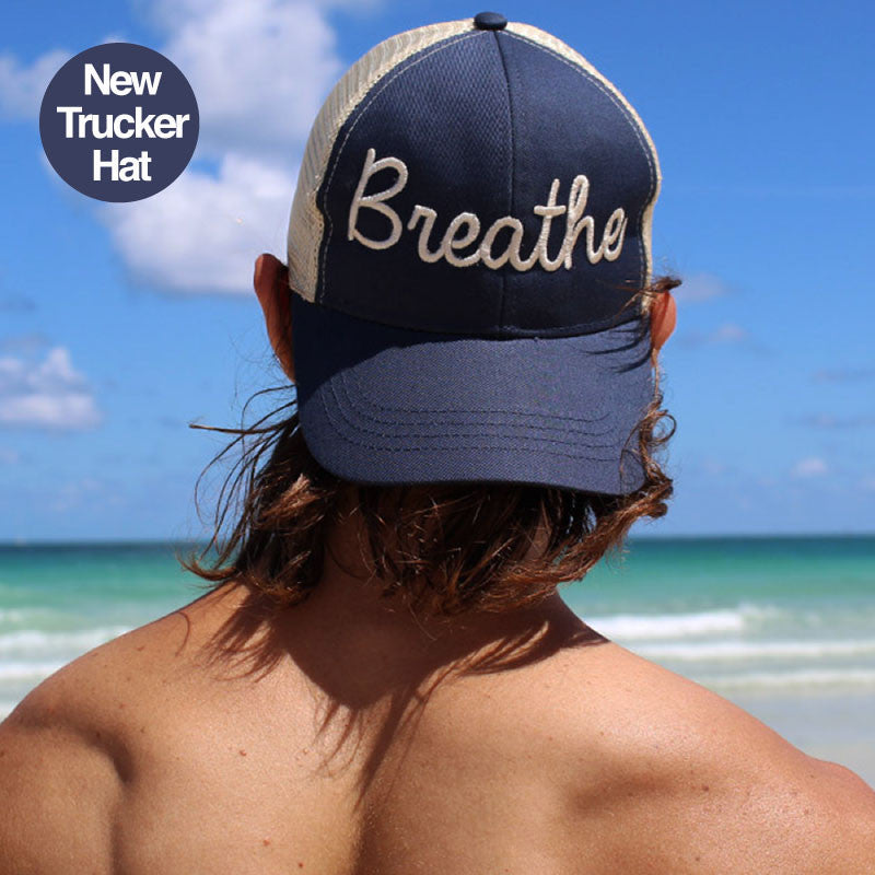 BREATHE NAVY ECO UNISEX TRUCKER MESH CAP - Funky Yoga  Gear & Accessories