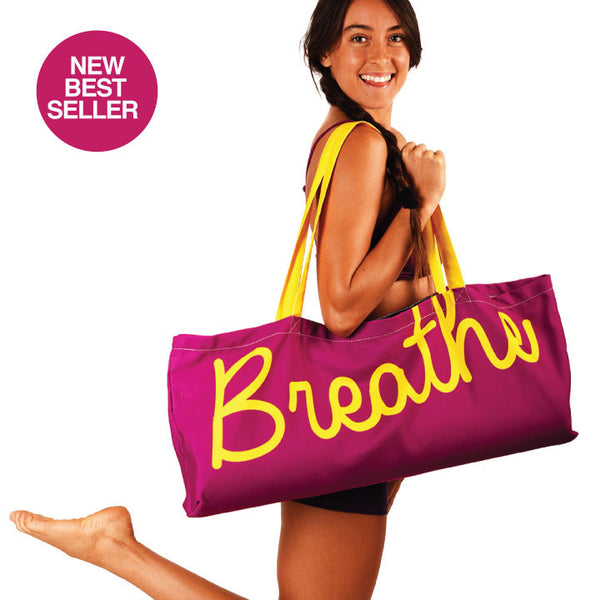 BREATHE WATERPROOF RECYCLED PURPLE YOGA TOTE BAG  30X10