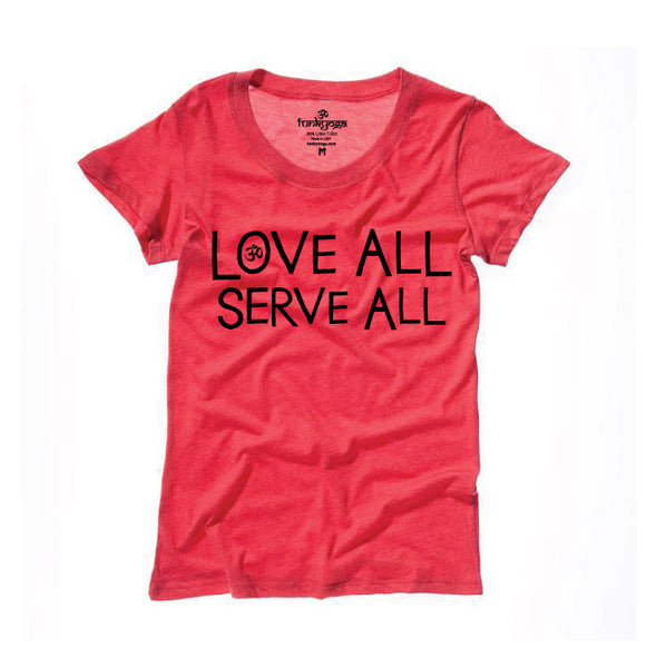 LOVE ALL SERVE ALL ~ TRIBLEND HEATHER RED WIDE NECK TEE