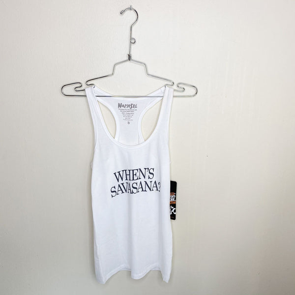WHEN SAVASANA ~ WHITE COTTON RACER TANK