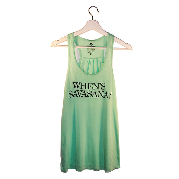 WHEN SAVASANA CLASSIC MINT FLOWY RACER TANK