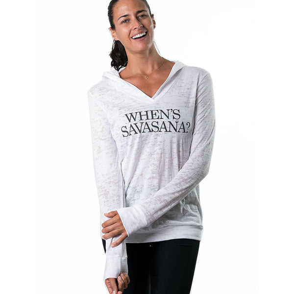 WHEN'S SAVASANA ~ GIRLS BURNOUT LONGSLEEVE HOODIE