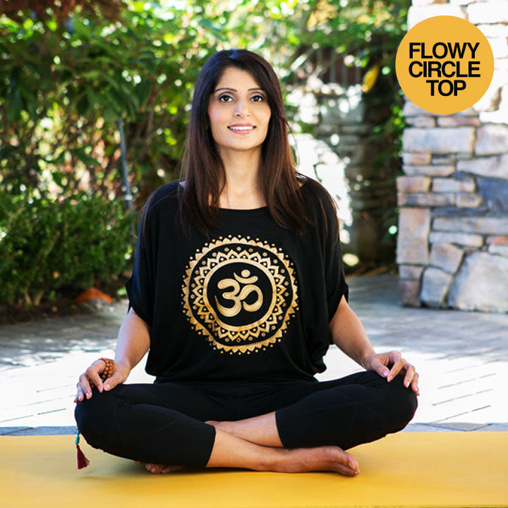OM SUN GOLD FLOWY CIRCLE TOP