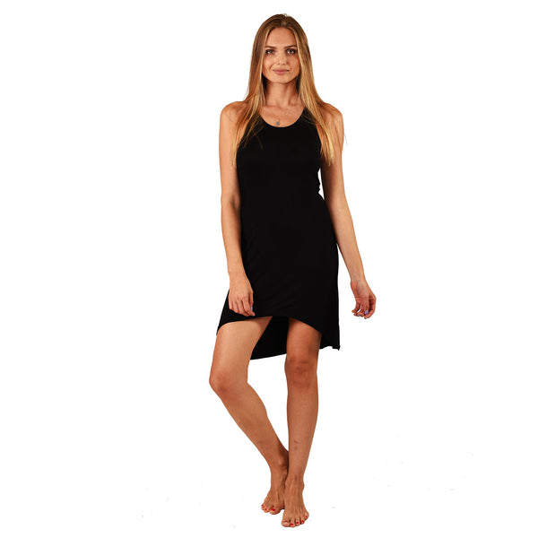 HAMSA GOLD BLACK ONE SIZE VISCOSE RACER DRESS