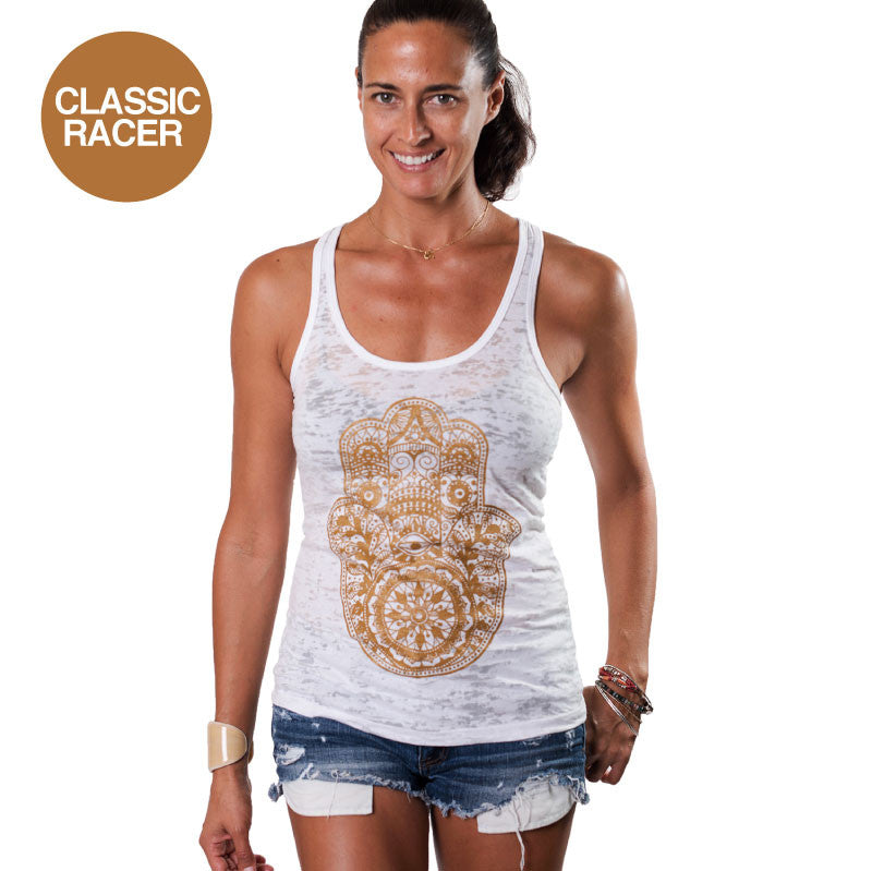 HAMSA GOLD CLASSIC BURNOUT RACER TANK - Funky Yoga  Gear & Accessories