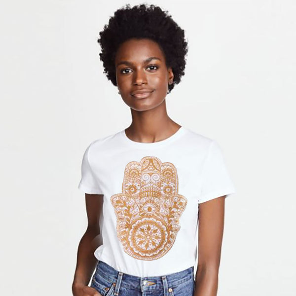 HAMSA GOLD ~ WHITE COTTON SHEER TEE