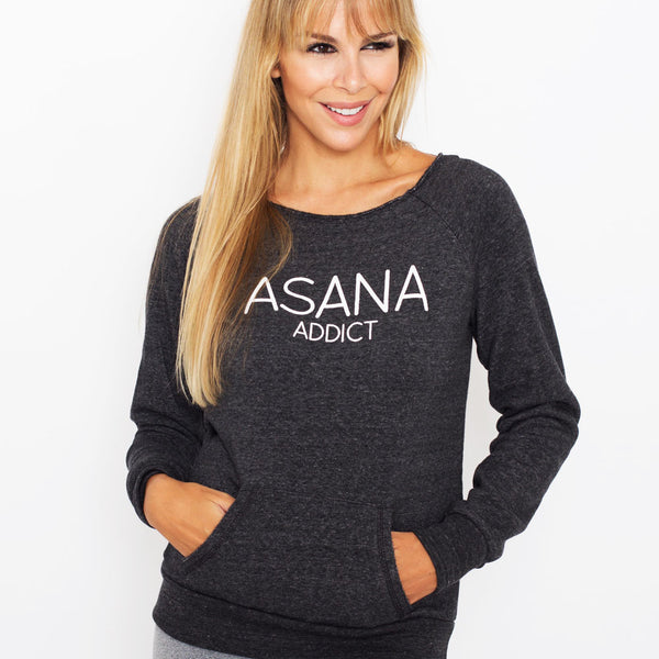 ASANA ADDICT~ BLACK RAW NECK FLEECE SWEATSHIRT