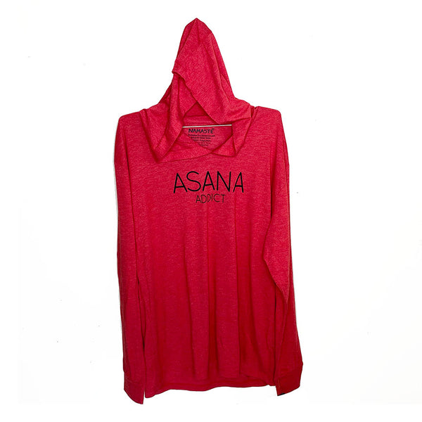ASANA ADDICT ~ HEATHER RED  MENS TRIBLEND HOODIES