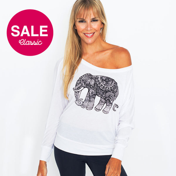 TRIBAL ELEPHANT FLOWY LONG FY198-FLS-WH - Funky Yoga