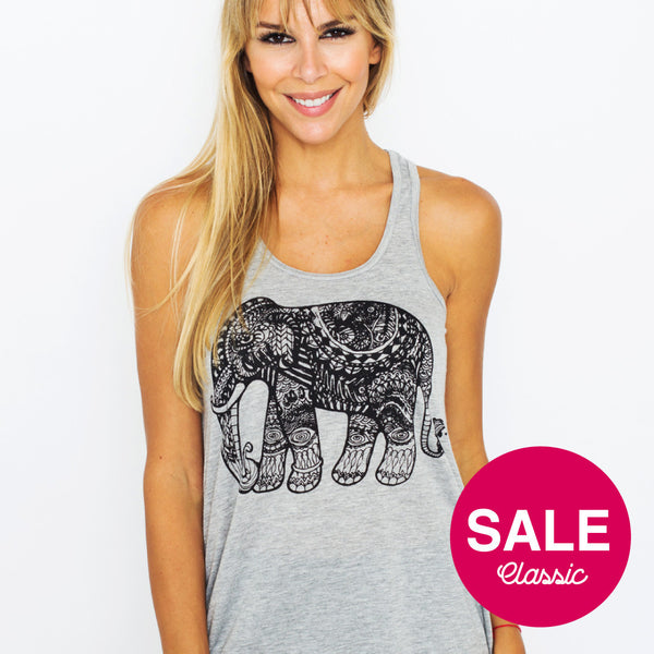 TRIBAL ELEPHANT TRIBLEND RACER TANK FY198-FRT-HG - Funky Yoga  Gear & Accessories