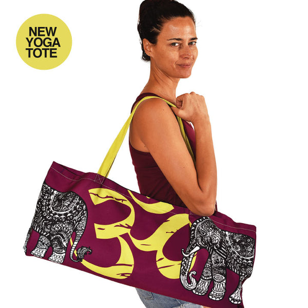 TRIBAL ELEPHANT WATERPROOF RECYCLED YOGA TOTE BAG  32X10