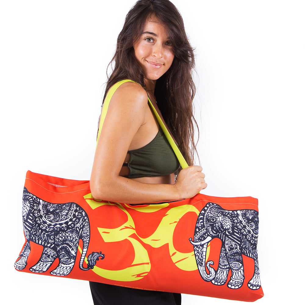 TRIBAL ELEPHANT ~ ORANGE WATERPROOF RECYCLED YOGA TOTE BAG  32X10
