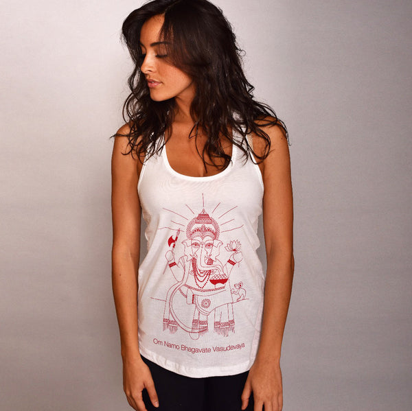 OM NAMO ~ WHITE COTTON RACER TANK