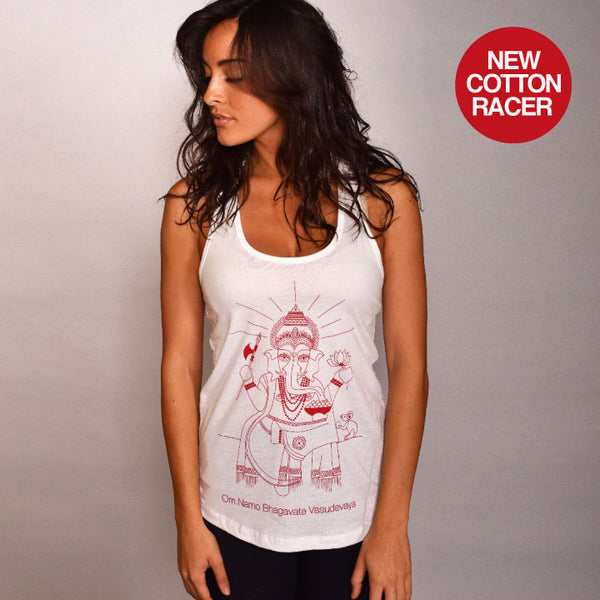 OM NAMO WHITE COTTON RACER TANK