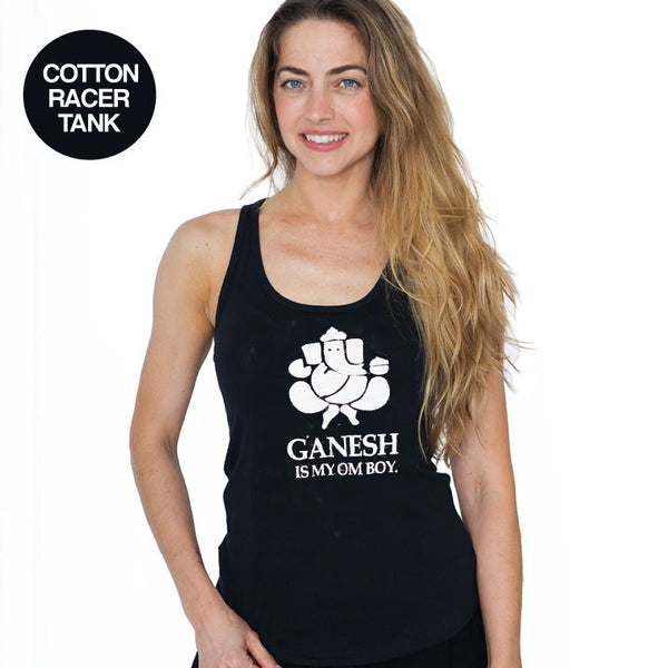 GANESH IS MY OMBOY ~ BLACK COTTON RACER TANK