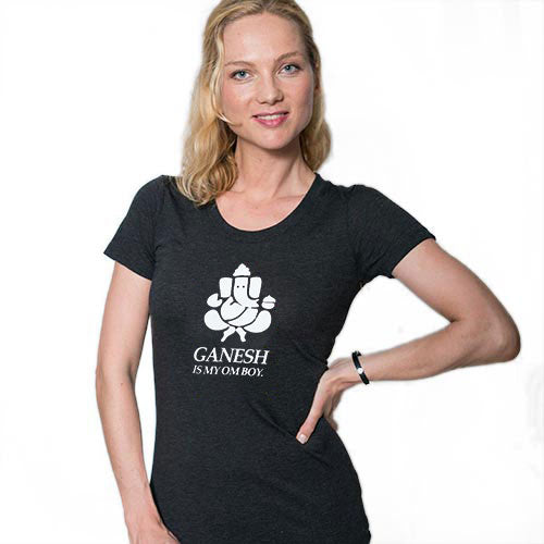 GANESH IS MY OM BOY ~ TRIBLEND HEATHER BLACK WIDE NECK TEE