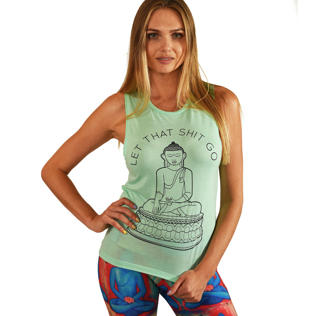 LET THAT SHIT GO FLOWY MINT MUSCLE TANK - Funky Yoga  Gear & Accessories