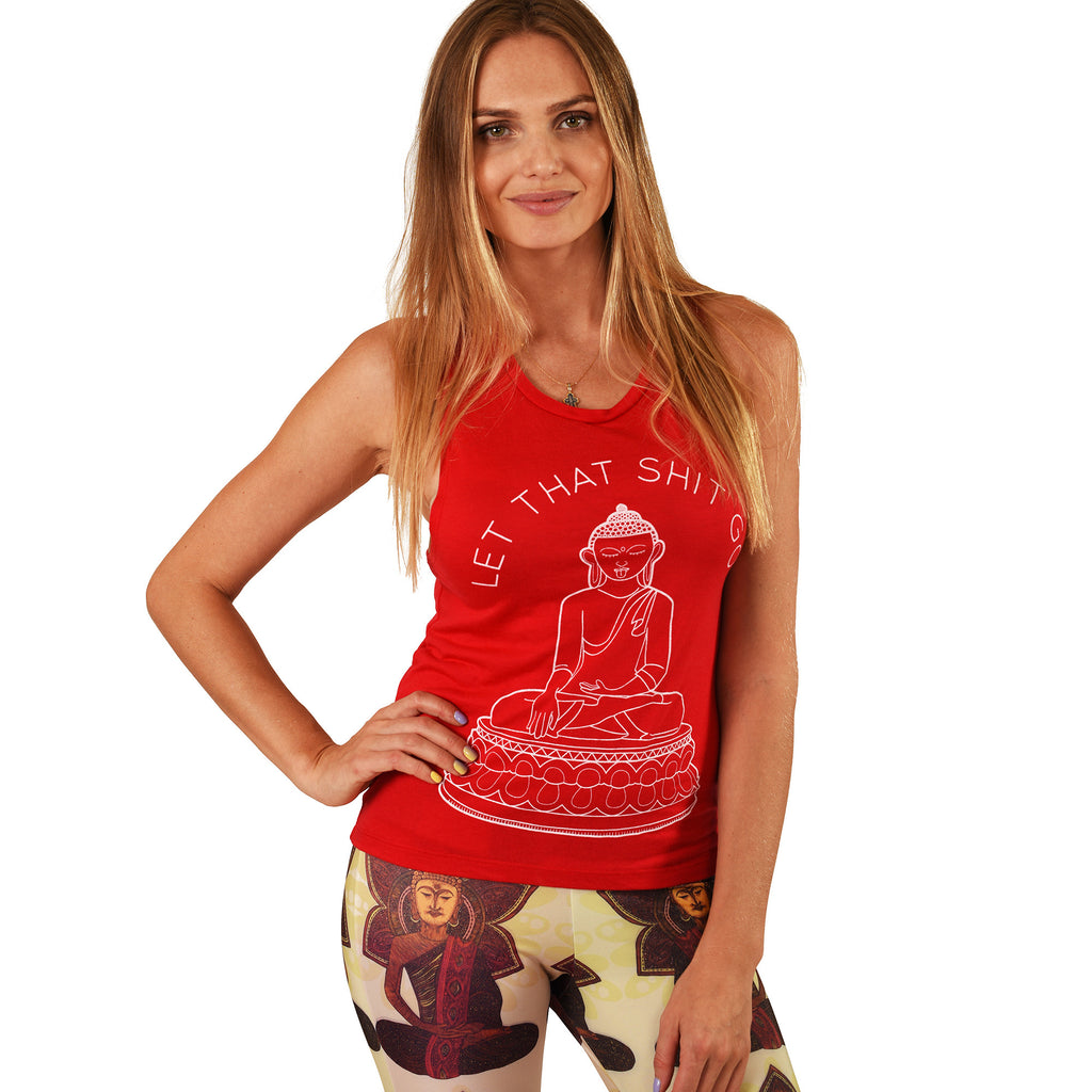 LET THAT SHIT GO RED FLOWY MUSCLE TANK - Funky Yoga  Gear & Accessories