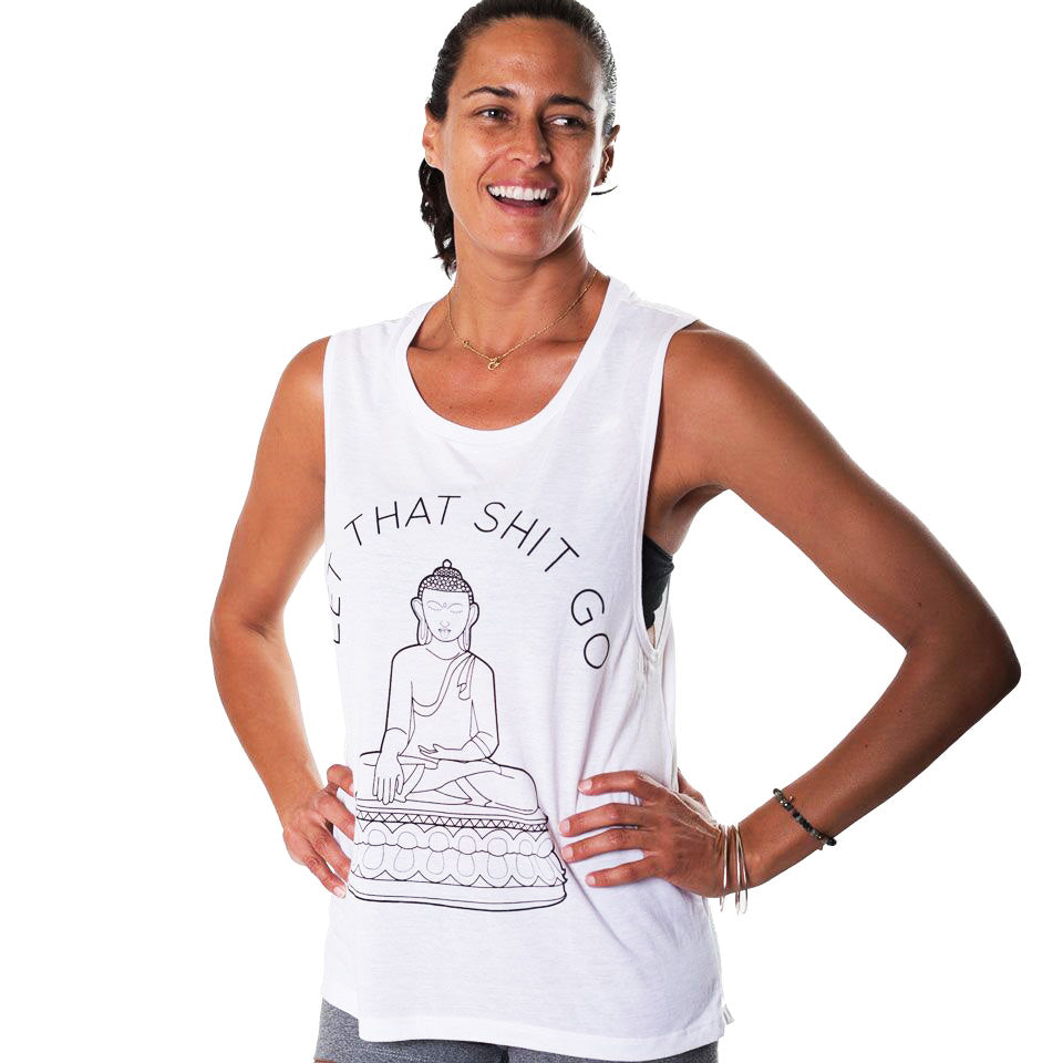 LET THAT SHIT GO SLUB MUSCLE TANK  FY210-SMT-WH - Funky Yoga  Gear & Accessories