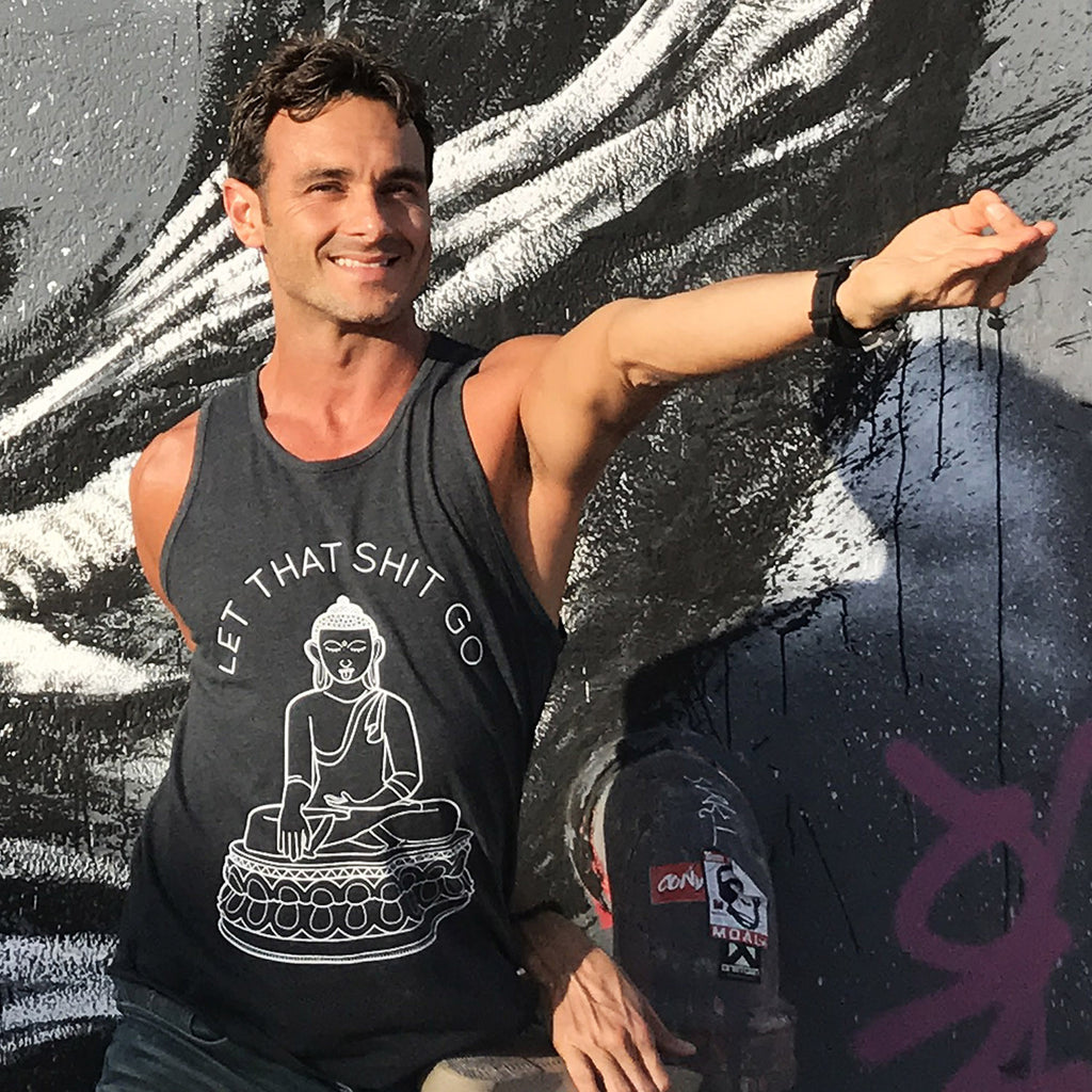 LET THAT SHIT GO MENS BLACK TRIBLEND TANK - Funky Yoga  Gear & Accessories