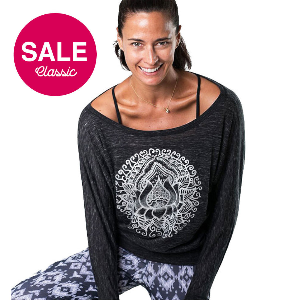 LOTUS TATOO SILVER FOIL CLASSICS FLOWY LONG SLEEVES - Funky Yoga  Gear & Accessories