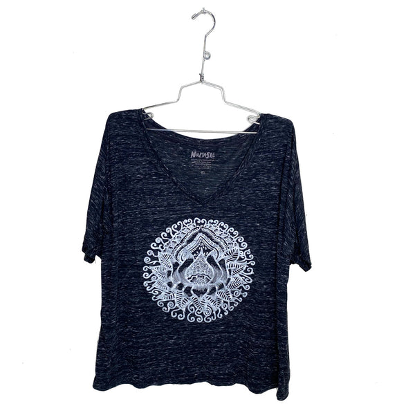 SILVER LOTUS ~ BLACK FLOWY V-NECK TEE