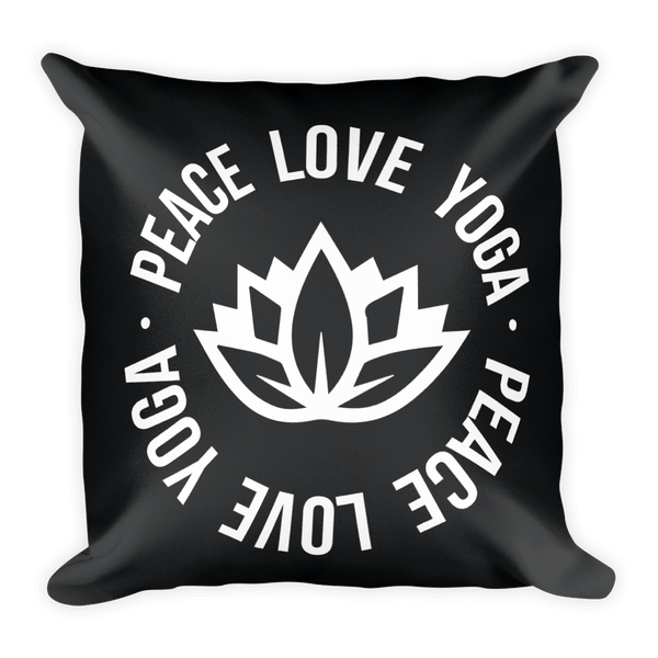 PEACE LOVE YOGA SQUARE PILLOW CASE W/INSERT  18X18
