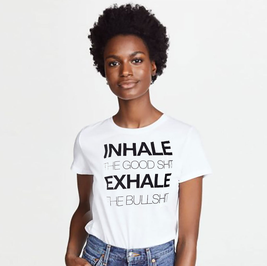 INHALE THE GOOD ~ OPEN NECK COTTON SHEER TEE