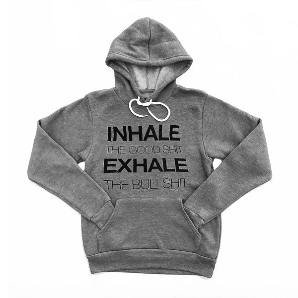 INHALE THE GOOD ~ HEATHER GREY UNISEX  FLEECE TRIBLEND HOODIE