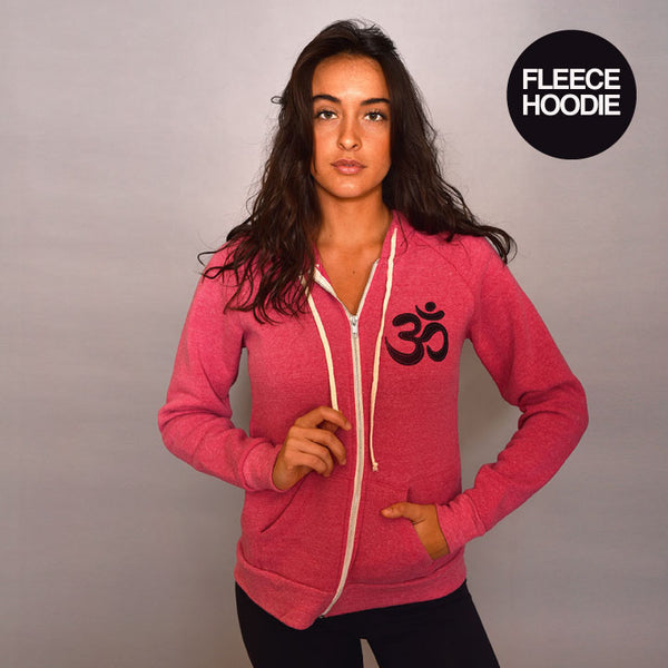 PEACE LOVE YOGA HEATHER RED TRIBLEND FLEECE ZIP HOODIE