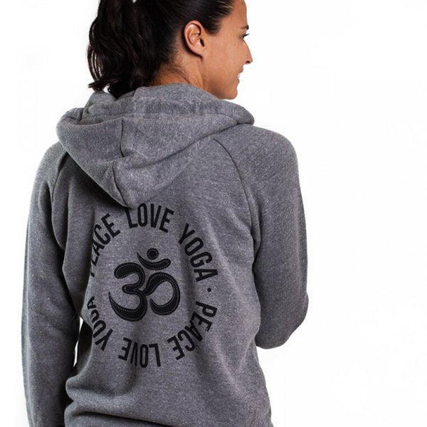 PEACE LOVE YOGA TRIBLEND FLEECE ZIP HOODIE
