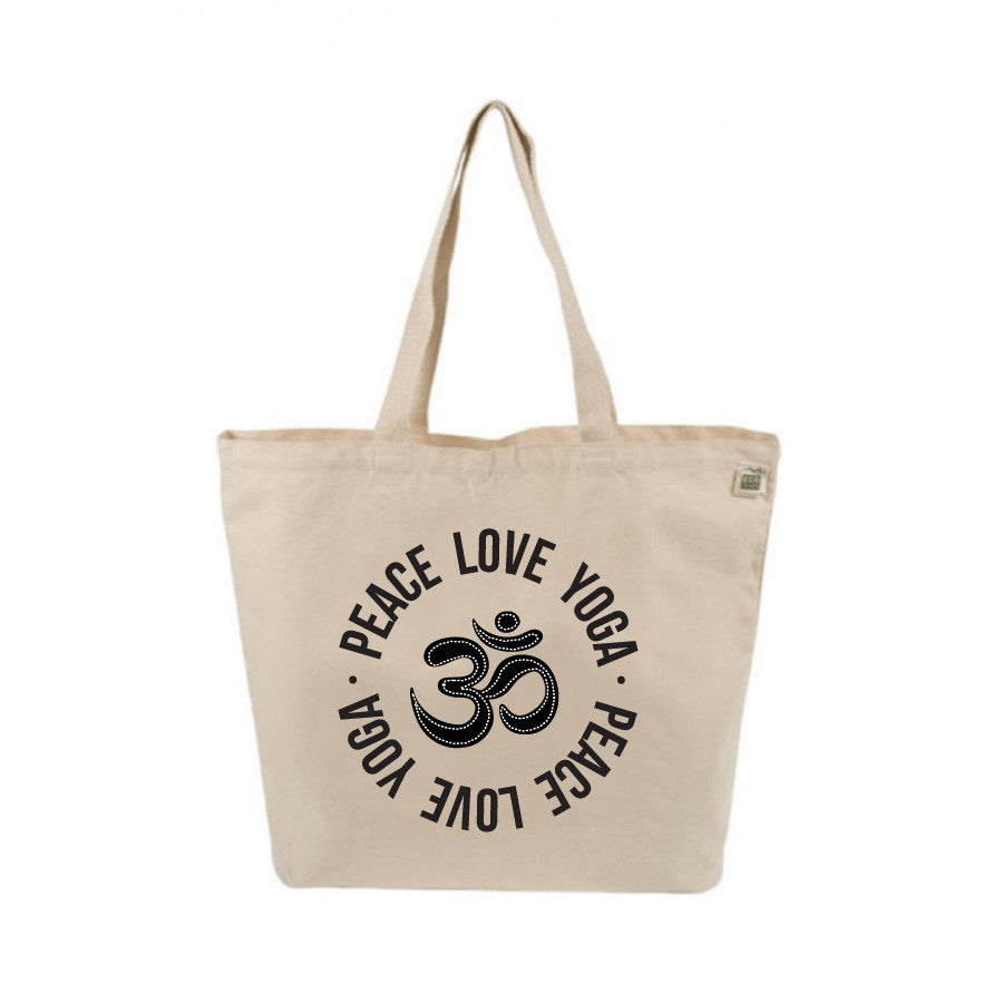 PEACE LOVE YOGA 8 OZ NATURAL ORGANIC TOTE 19x16