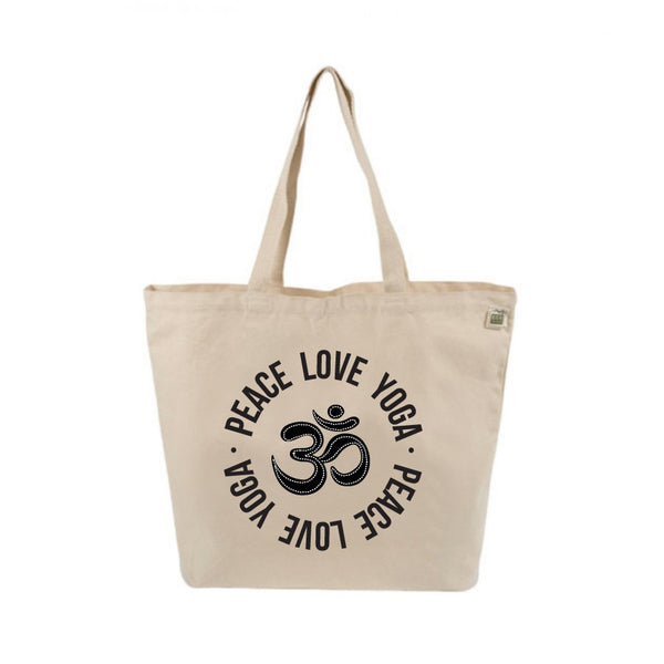 PEACE LOVE YOGA 8 OZ NATURAL ORGANIC TOTE 19x16 FY246-ORT-NT