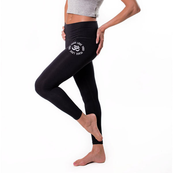 PEACE LOVE BLACK SOFT BASIC LEGGINS FY246-NBLEG-BK