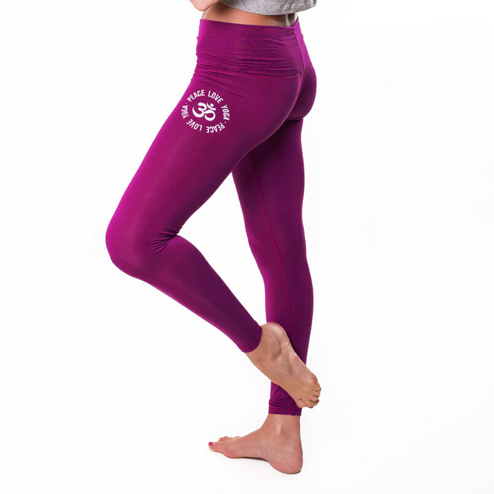 PEACE LOVE DARK PURPLE SOFT BASIC LEGGINSG