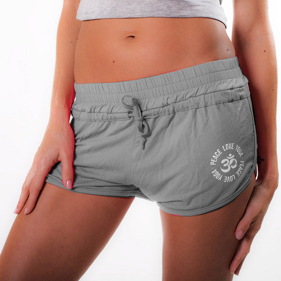 PEACE LOVE YOGA ~ HEATHER GREY VISCOSE BEACH SHORTS