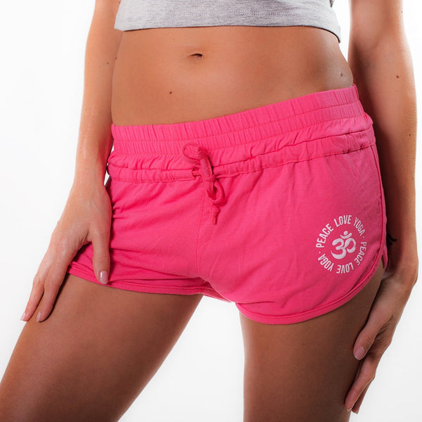 PEACE LOVE YOGA ~ HOT PINK VISCOSE BEACH SHORTS