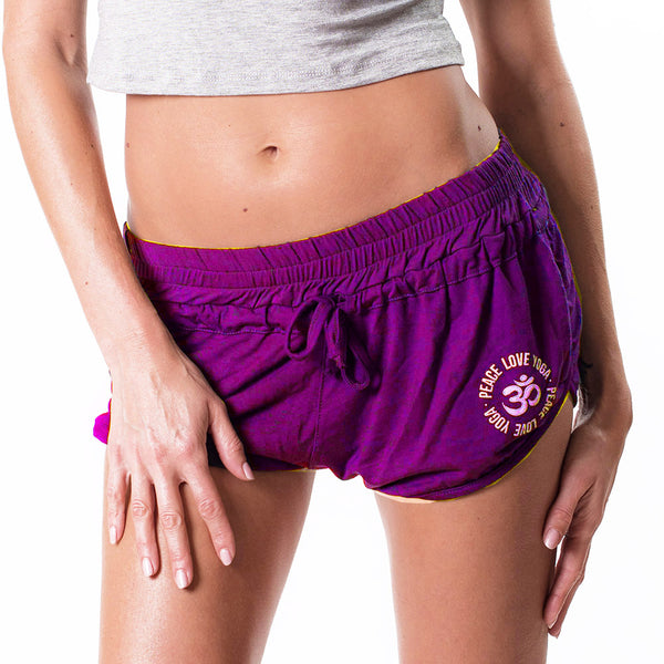 PEACE LOVE YOGA ~ PURPLE VISCOSE BEACH SHORTS
