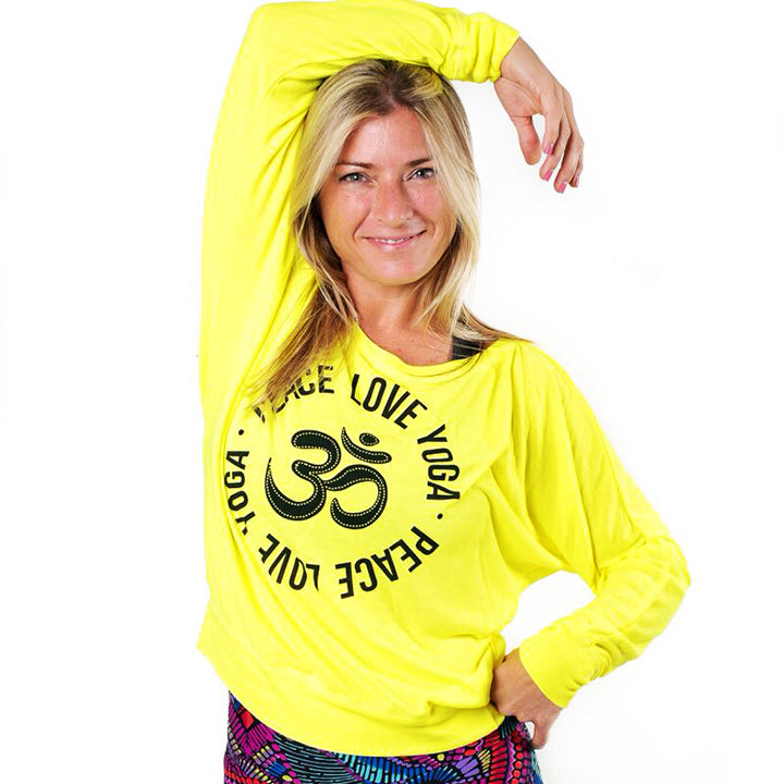 PEACE LOVE YOGA ~ NEON YELLOW FLOWY LONG