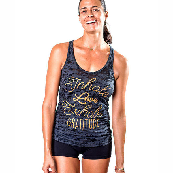 GRATITUDE BURNOUT RACER TANK - Funky Yoga  Gear & Accessories