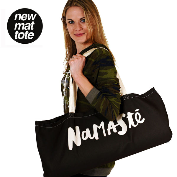 NAMASTE WATERPROOF BLACK RECYCLED YOGA TOTE BAG  30X10
