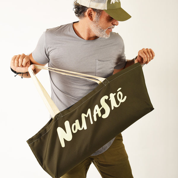 NAMASTE WATERPROOF OLIVE RECYCLED YOGA TOTE BAG  30X10