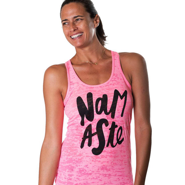 NAMASTE COOL ~ HOT PINK CLASSICS BURNOUT RACER TANK (Only L)